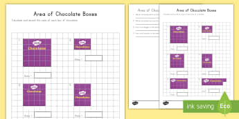 Measuring Area of Chocolate Boxes Worksheet / Activity Sheet - tiling, area, common core, measurement, multiplication