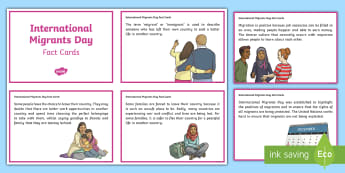 International Migrants Day Fact Cards - rrsa, rights, immigrations, unicef, refugee,Scottish