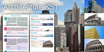 Imagine Architecture KS1 Resource Pack - Architecture, skyscrapers, Dancing House, Tudor House, Riverbank, Colosseum, maths, measure, 3D shap