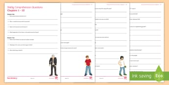 Chapters 1-10 Comprehension Questions Activity Sheet to Support Teaching On 'Skellig' by David Almond - KS3 Literature, Michael, Mina, Lower Ability Reading, Guided Reading, David Almond, Comprehension, C