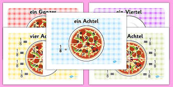 Pizza Fractions German - fractions, maths, half, quarter, thirds, fraktionen, mathe, german, germany, de, deutsch