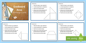 Area Geoboard Challenge Cards - measures, geoboard, area, square centimetre, maths, challenge cards,Irish