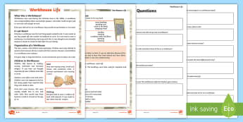 KS2 Workhouse Life Differentiated Comprehension Go Respond Activity Sheets - KS2 Workhouses, Victorian times, paupers, poor people, year 3, year 4, year 5, year, 5 year 6, readi