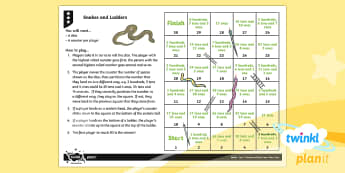 PlanIt Maths Y3 Number and Place Value Snakes and Ladders Home Learning Tasks