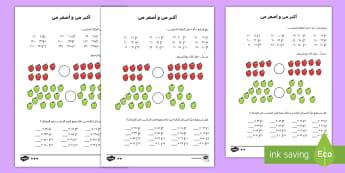نشاط أكبر من و أصغر من -  متمايز  - ، رياضيات، أعداد، ترتيبورقة تمارين، متمايزة، لتدريس ا