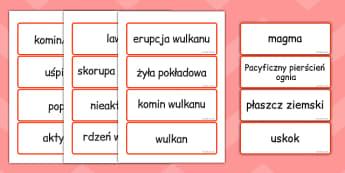Karty ze słownictwem Wulkany po polsku - geografia , Polish