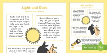 EYFS Light and Dark Home Learning Challenges Nursery FS1 - Light and Dark, day, night, nocturnal, diurnal, home learning, homework, parents, carers, home links