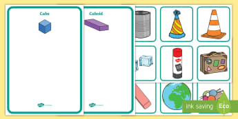 3D Shape Sorting Activity - 3D shapes, shapes, sorting, 3D, match