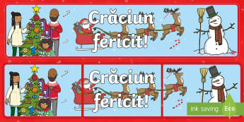 Crăciun fericit! Banner - craciun, decorul clasei, serbare, decor usa, decorare clasei, Romanian