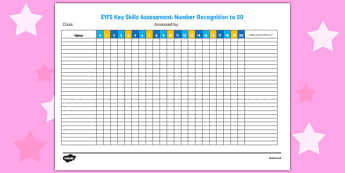 EYFS Key Skills Assessment Number Recognition to 20 - key skills