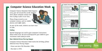 KS1 Computer Science Education Week Differentiated Reading Comprehension Activity - Hour of Code, coding, programming, rear admiral grace murray hopper, pioneer.