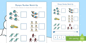 Winter Olympics Number Match-Up Worksheet / Activity Sheet - Cut and Glue, Pyongyang, South Korea Olympics, Fine Motor Skills, worksheet,