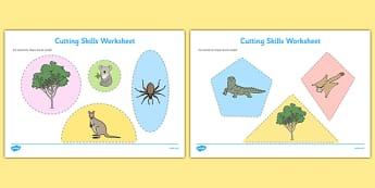 Bush Habitat Cutting Skills Worksheet - australia, Science, Year 1, Habitats, Australian Curriculum, Bush, Living, Living Adventure, Environment, Living Things, Animals, Plants, Cutting Skills, Fine Motor