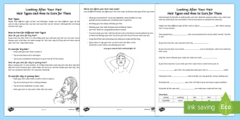 Looking after Your Hair  - Hair Types and How to Care for Them Fact File Worksheet / Activity Sheets - Special Educational Needs, Health and Hygiene, Hair Care, Key Stage 3, Key Stage 4, Life Skills, PSH