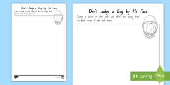 Year 5 and 6 Chapter Chat Week 1 Don't Judge Design a Poster to Support Teaching on Wonder by R.J. Palacio  - literacy, reading, chapter chat, wonder, rJ Palacio