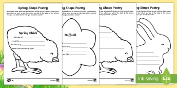 KS1 Spring Shape Poetry  Differentiated Activity Sheets  - shape poetry, year 2 poetry, year 2, poetry, spring, spring animals, spring activities, Easter, East