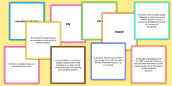 LGBT Word Cards for Discussion With Definitions - lgbt, lesbian, gay, bisexual, transsexual, word cards, discussion, definitions