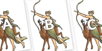 A-Z Alphabet on Artemis - A-Z, A4, display, Alphabet frieze, Display letters, Letter posters, A-Z letters, Alphabet flashcards