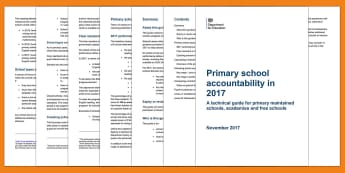 Primary School Accountability in 2017 - Primary school, primary school accountability, Accountability in KS2, assessment, accountability