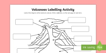 Volcanoes Differentiated Labelling Activity Sheet - KS2, Geography,worksheet, ks2-mountains-and-volcanoes, new-2014-curriculum-resources-ks2-geography-r