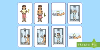 Visual Guide: Showering (Female) Flashcards - shower, hygeine, hygiene, sen, routine, clean, fresh