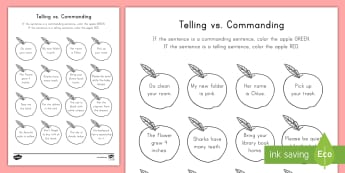 Telling vs. Commanding Sentences Coloring Activity Sheet -  punctuation, period, Types of Sentences, Apples, Grammar, worksheet, word work, daily five, center,