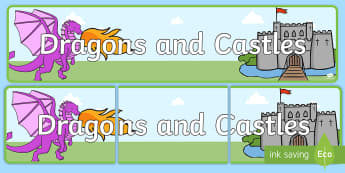 Dragons and Castles Display Banner - Dragon, Castle, Banner