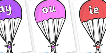Phase 5 Phonemes on Parachutes - Phonemes, phoneme, Phase 5, Phase five, Foundation, Literacy, Letters and Sounds, DfES, display