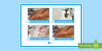 Washing My Hands Display Poster - Hygiene, washing, hands, poster, entry level, functional skills