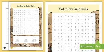 California Gold Rush Word Search - california, gold rush, california history, miners, forty-niners, california gold rush, state of cali