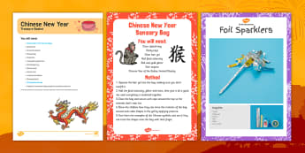 Chinese New Year Treasure Basket Ideas - Chinese New Year, treasure basket, natural resources, sensory, exploration, year of the rooster