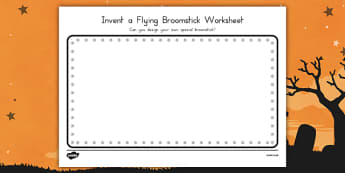 Invent a Flying Broomstick Worksheet  - witches, book, topic, early years, ks1, key stage 1, activity, design, technology, art,