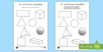 2D und 3D Formen Anmalbilder - Figuren, Geometrie, Flächen, Mathe, ,German