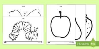 أوراق تلوين لدعم التدريس في اليرقة الجائعة جداً - اليرقة الجائعة جداً، اليرقة، اليسروع الجائعة، أوراق ت