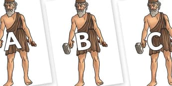 A-Z Alphabet on Hephaestus - A-Z, A4, display, Alphabet frieze, Display letters, Letter posters, A-Z letters, Alphabet flashcards