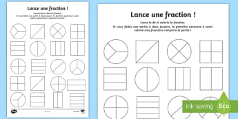 Fiche d'activités : Lance une fraction - Calcul, fractions, mathématiques, activité, cycle 2,French