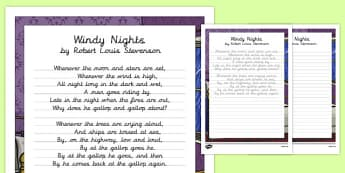 Windy Nights Poem Handwriting Practice - poem, handwriting, practice, writing, wrindy nights, robert louis stevenson
