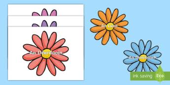 Postaer Taispeána A4: Laethanta na Seachtaine ar Bláthanna - Days of the week on flowers, laethanta na seachtaine ar bláthanna, taispeantais