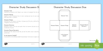 Character Study Discussion Dice Nets - character Change, Character Motivation, Character Feelings, Characters Traits, Speaking and Listenin