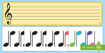 Portativul și notele muzicale Planșă interactivă - muzică, muzică și mișcare, notele muzicale, portativul, planșă, de afișat, note, do, re, mi,R