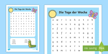 Die Tage der Woche Word Search German - german, days of the week, days, week, wordsearch, word search