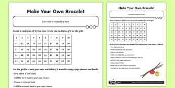 Multiples of Eight Bracelet Craft Instructions - Number and Place Value, making, cross curricular maths, multiples, times tables, steps of, counting,