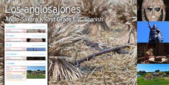 Imagine Anglo Saxons K-2 Grade Resource Pack Spanish (Latin) - Angle, Saxon, History, Farm, Helmet, King, Sewing, Village, ESL, Spanish translation