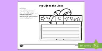My Gift to the Class Worksheet - KS2 New Class Worksheet