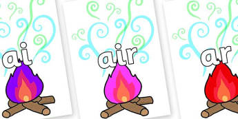Phase 3 Phonemes on Magic Fire - Phonemes, phoneme, Phase 3, Phase three, Foundation, Literacy, Letters and Sounds, DfES, display