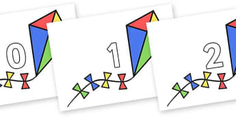 Numbers 0-50 on Kites - 0-50, foundation stage numeracy, Number recognition, Number flashcards, counting, number frieze, Display numbers, number posters