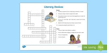 Literary Devices Crossword - Literature, Reading, Grades 3 - 5, Metaphors, Similes, Alliteration, Personification