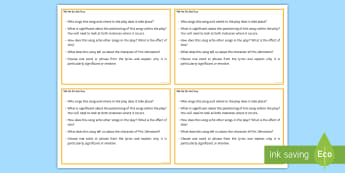 Tell Me It's Not True  Question Cards - GCSE English Literature, Drama, Contemporary Drama, Modern Drama, Lyrics, Song.