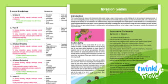 Invasion Games: Unit Overview - Year 6 PE Lesson