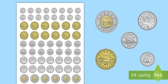 Life-Size Canadian Coin Cut-Outs - Canada KS1 Maths Resource Movement, canadian coins, canadian money, counting, currency, loonie, toon